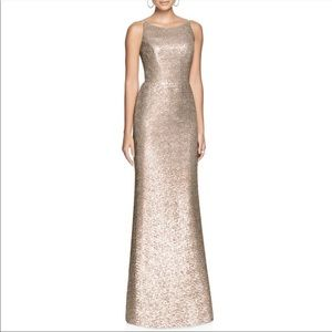 DESSY COLLECTION Bateau Neck Sequin Gown GOLD 4